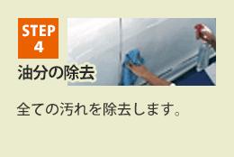 STEP4 油分の除去 全ての汚れを除去します。